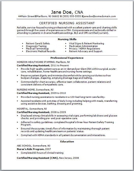 Sample Resume for a Certified Nursing Assistant: